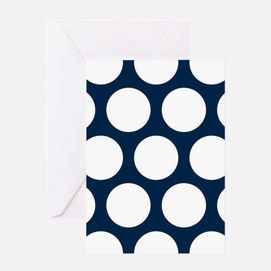 Blue, Navy: Polka Dots Pattern (Larg Greeting Card