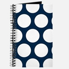 Blue, Navy: Polka Dots Pattern (Large) Journal