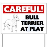 Careful Bull Terrier At Play Yard Sign