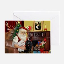 Santa's 3 Poodles (B+W) Greeting Card