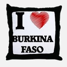 I Love Burkina Faso Throw Pillow