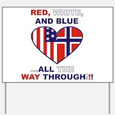 Flag heart Yard Sign