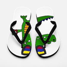 Alligator in Sunglasses Flip Flops