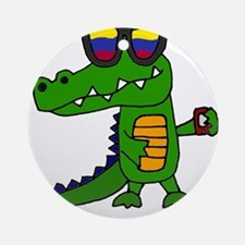 Alligator in Sunglasses Round Ornament