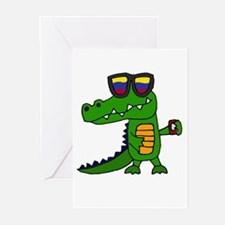 Alligator in Sunglasses Greeting Cards