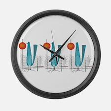 Mid-Century Modern Birds Large Wall Clock