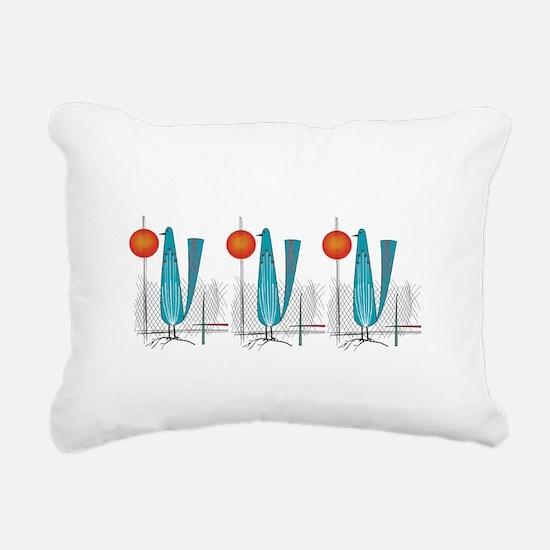 Mid-Century Modern Birds Rectangular Canvas Pillow