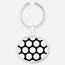 Large Polka Dots: Pure Black Oval Keychain