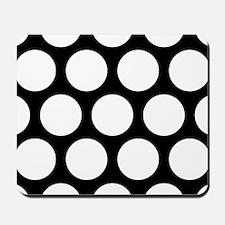Large Polka Dots: Pure Black Mousepad
