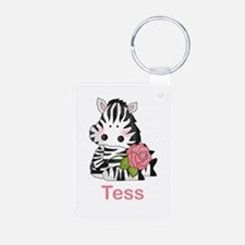 Tess's Zebra Rose Aluminum Photo Keychain