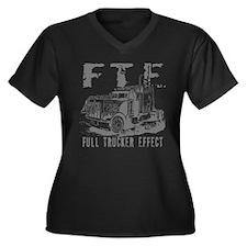 FTE - Grey Women's Plus Size V-Neck Dark T-Shirt