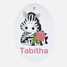 Tabitha's Zebra Rose Oval Ornament