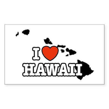 I Love Hawaii Rectangle Sticker
