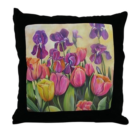 Purple Irises and pink tulips Throw Pillow