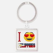 I love Philippines Square Keychain