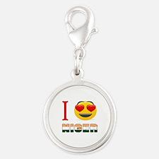 I love Niger Silver Round Charm