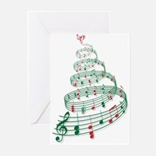 Christmas tree with music notes and heart Greeting