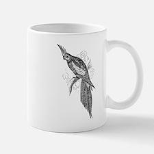 Vintage Parakeet Tropical Bird Black White Mugs