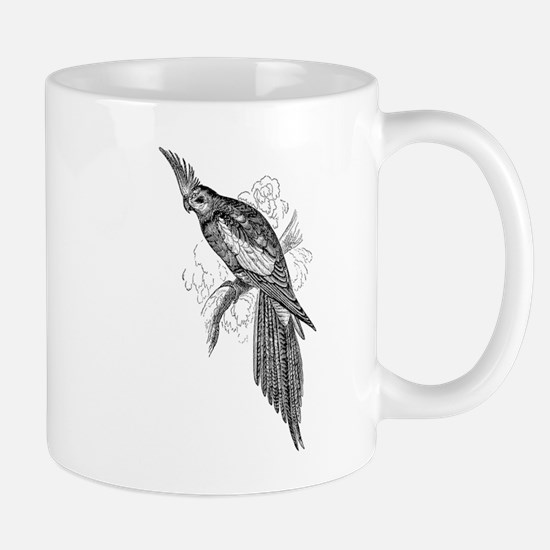 Vintage Parakeet Tropical Bird Black White Mugs
