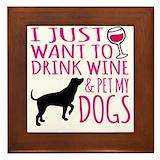Wine and dog Framed Tiles