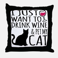 Funny Cat coffee Throw Pillow