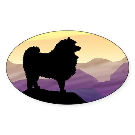 Keeshond Purple Mountain Oval Sticker
