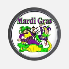 Mardi Gras Jesters and Gator Wall Clock