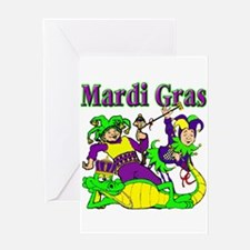 Mardi Gras Jesters and Gator Greeting Card