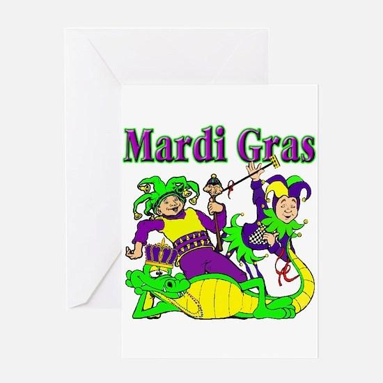 Mardi Gras Jesters and Gator Greeting Card