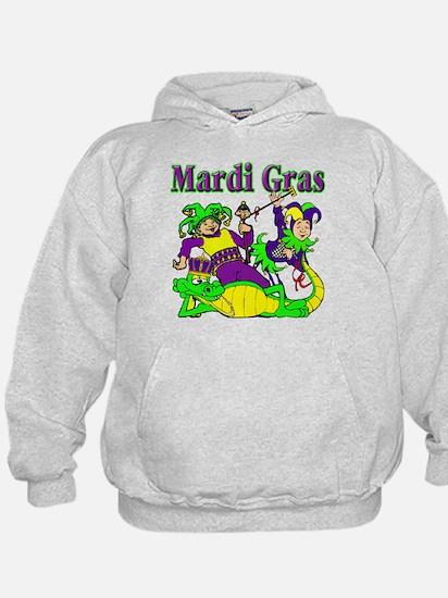 Mardi Gras Jesters and Gator Hoodie