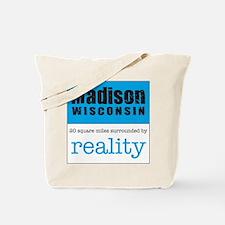 Madison Wisconsin surrounded Tote Bag logo on back