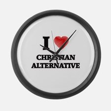 I Love Christian Alternative Large Wall Clock