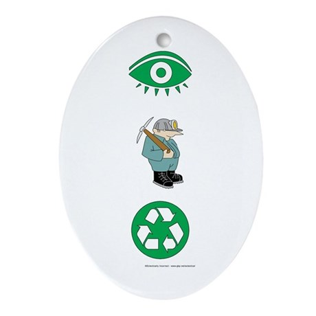 I Dig Recycling Oval Ornament