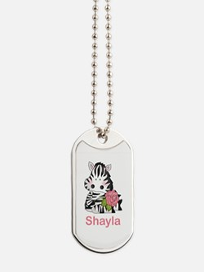 Shayla's Zebra Rose Dog Tags
