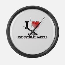 I Love Dark Industrial Metal Large Wall Clock