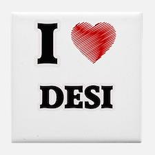 I Love Desi Tile Coaster