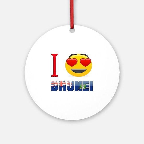 I love Brunei Round Ornament