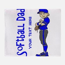 PERSONALIZED SOFTBALL DAD Throw Blanket