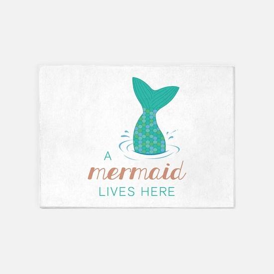 Mermaid Lives Here 5'x7'Area Rug