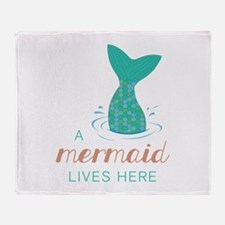 Mermaid Lives Here Throw Blanket