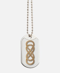 Double Infinity Cloisonne Rose Pink Gold Dog Tags