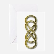 Double Infinity Cloisonne Jade Gol Greeting Cards