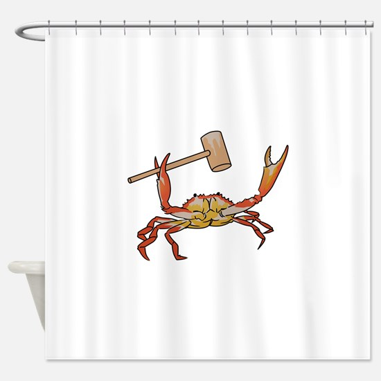 Crab Wtih Mallet Shower Curtain
