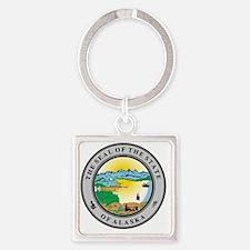 Cute Alaska state seal Square Keychain
