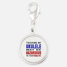 Touching my Ukulele May be haz Silver Round Charm