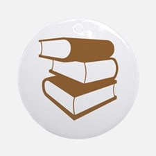 Stack Of Brown Books Ornament (Round)