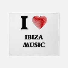 I Love Ibiza Music Throw Blanket