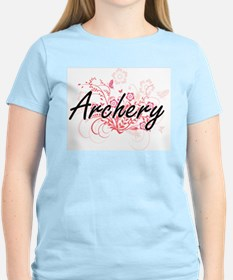 Archery Artistic Design with Flowers T-Shirt