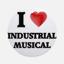I Love Industrial Musical Round Ornament