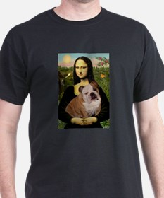 Mona Lisa & English Bulldog Ash Grey T-Shirt